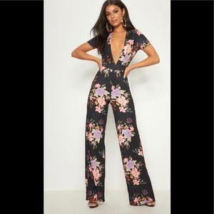 NWT💫PLT Black Floral Crepe Short Plunge Jumpsuit